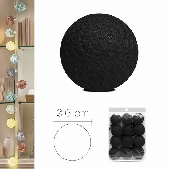 LUZI FABRIC BALL 6 cm BLACK