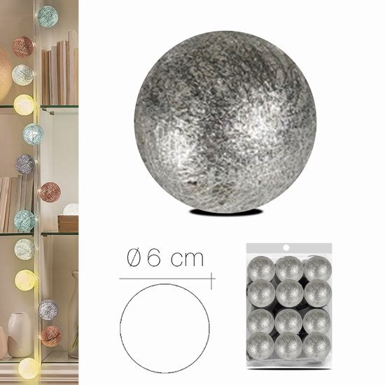 LUZI FABRIC BALL 6 cm SILVER