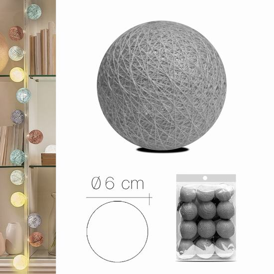 LUZI FABRIC BALL 6 cm  LIGHT GREY