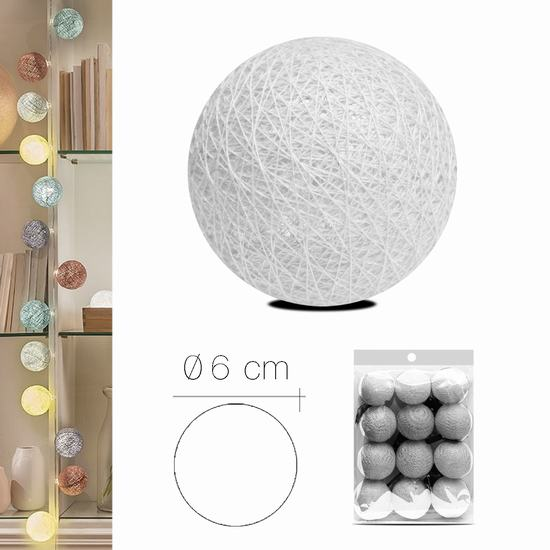 LUZI FABRIC BALL 6 cm  WHITE