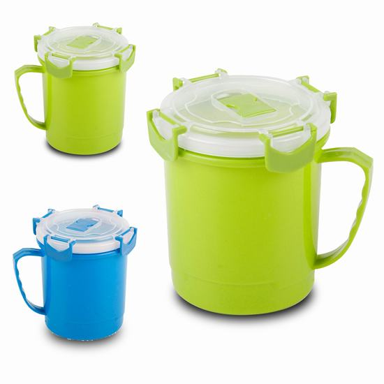 MUG SOUPE HERMETIQUE 600 ML 2 COUL ASSORTIES